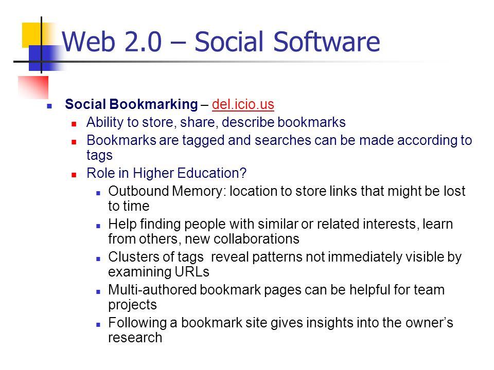 Web 2.0 – Social Software Social Bookmarking – del.icio.us