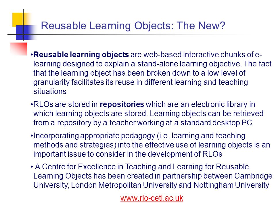 Reusable Learning Objects: The New