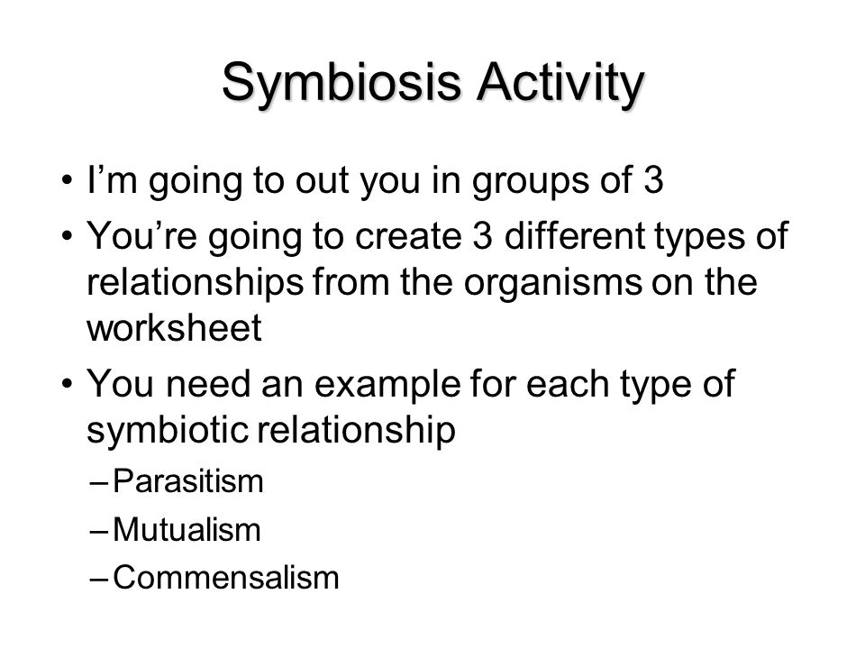 types of symbiosis worksheet pdf