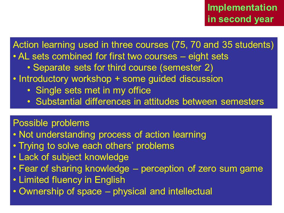 Implementation in second year