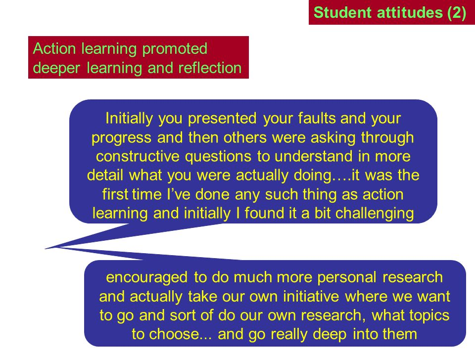 Student attitudes (2) Action learning promoted deeper learning and reflection.