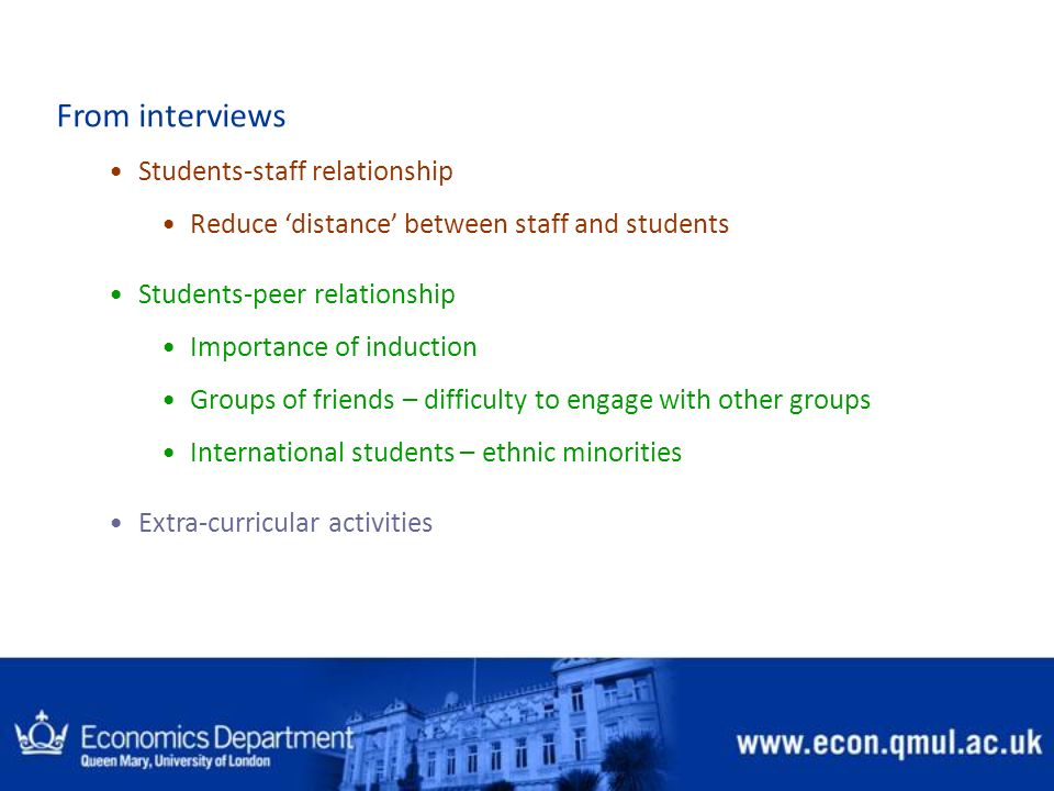 From interviews Students-staff relationship