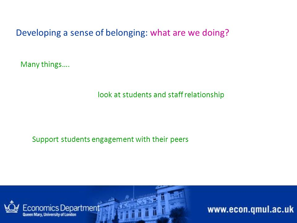 Developing a sense of belonging: what are we doing