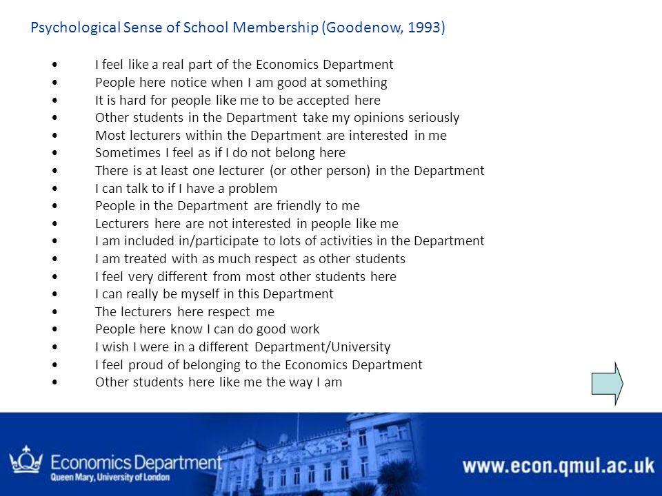 Psychological Sense of School Membership (Goodenow, 1993)