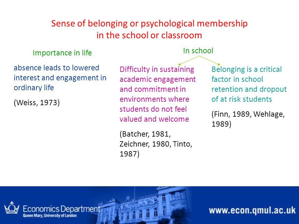 Sense of belonging or psychological membership in the school or classroom