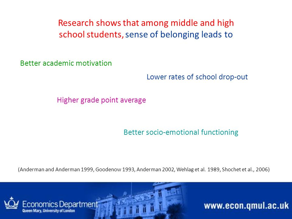Research shows that among middle and high school students, sense of belonging leads to