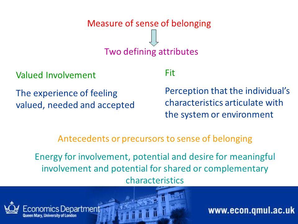 Measure of sense of belonging