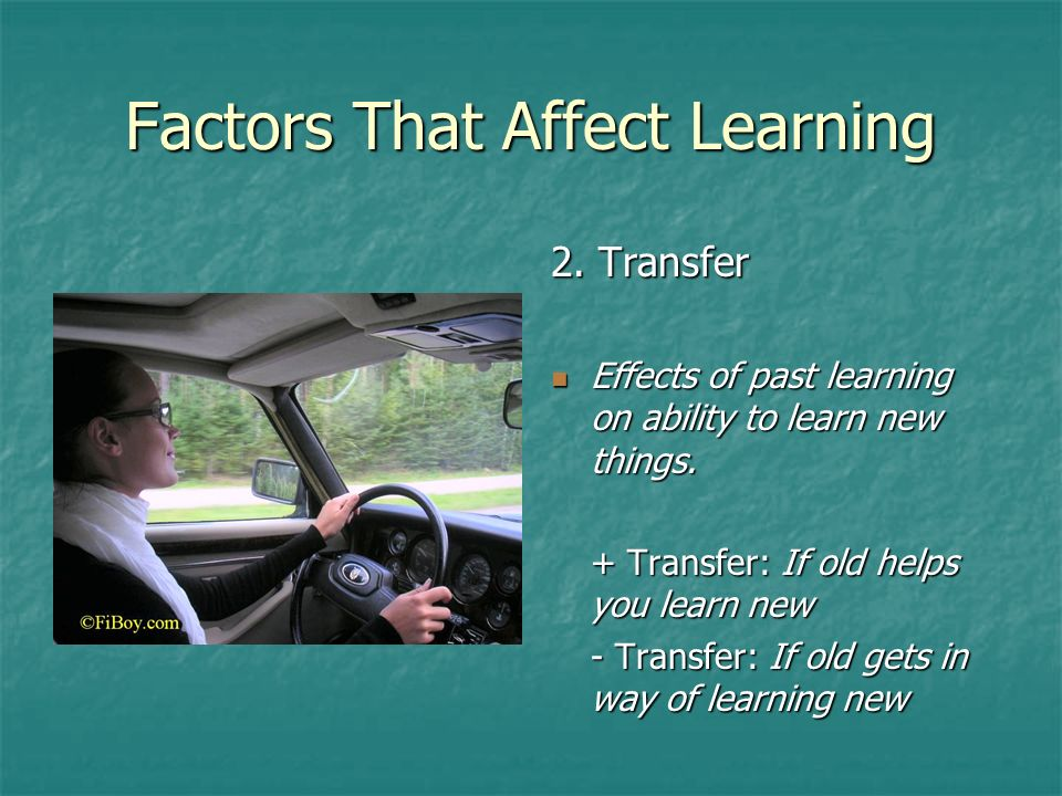 factors that affect learning Cognitive factors that affect learning dr robert ryan, department of psychology the research of dr ryan and his students has spanned face recognition, the use of the internet for data gathering, and applying cognitive methods in education one study on face recognition examined people who have high visual skill.
