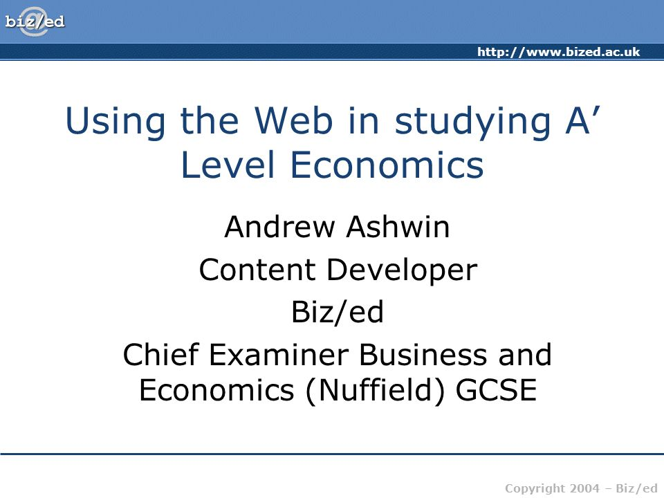 Using the Web in studying A' Level Economics