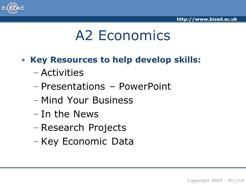 A2 Economics Activities Presentations – PowerPoint Mind Your Business