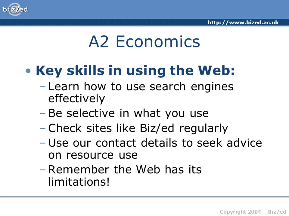 A2 Economics Key skills in using the Web: