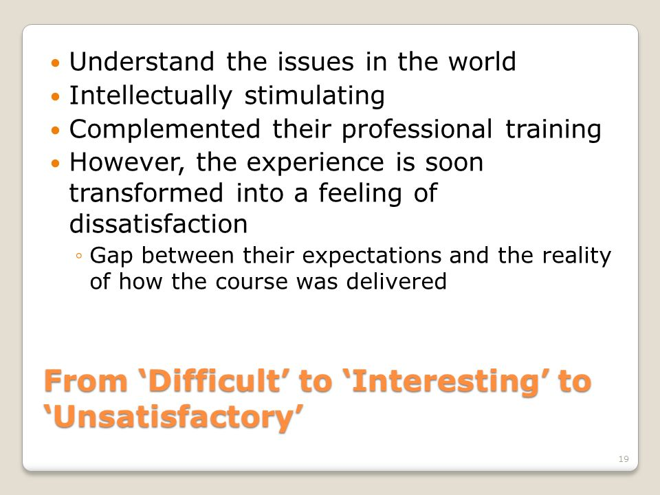 From 'Difficult' to 'Interesting' to 'Unsatisfactory'