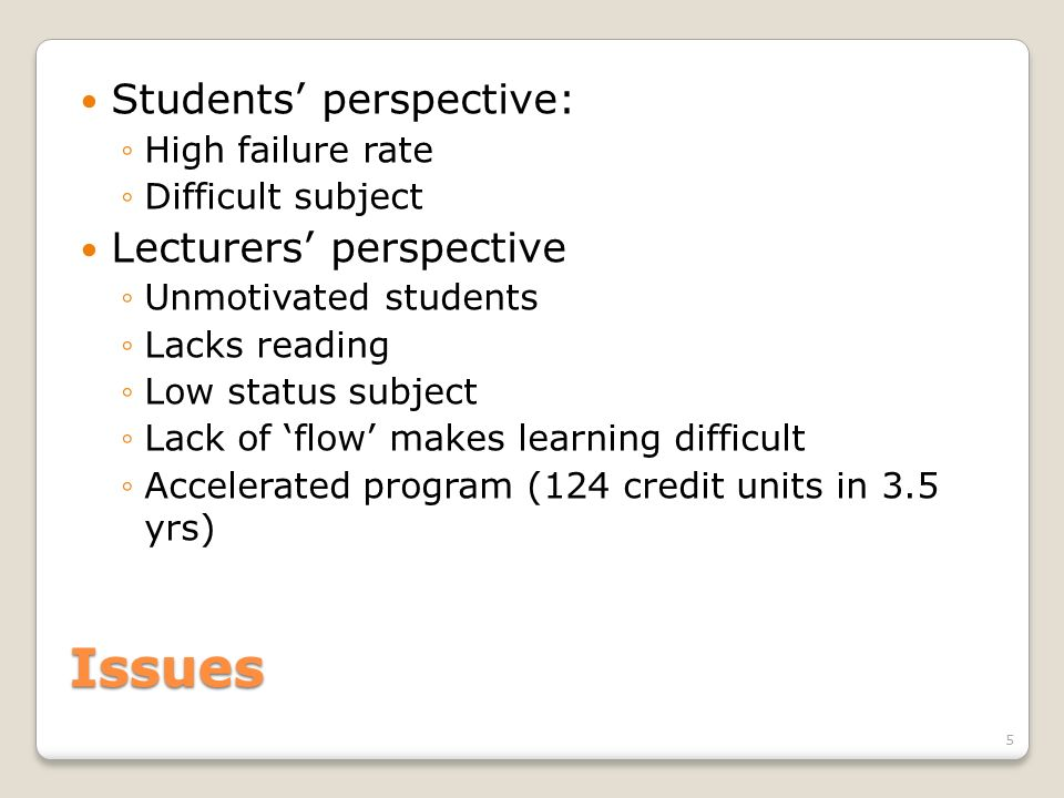 Issues Students' perspective: Lecturers' perspective High failure rate