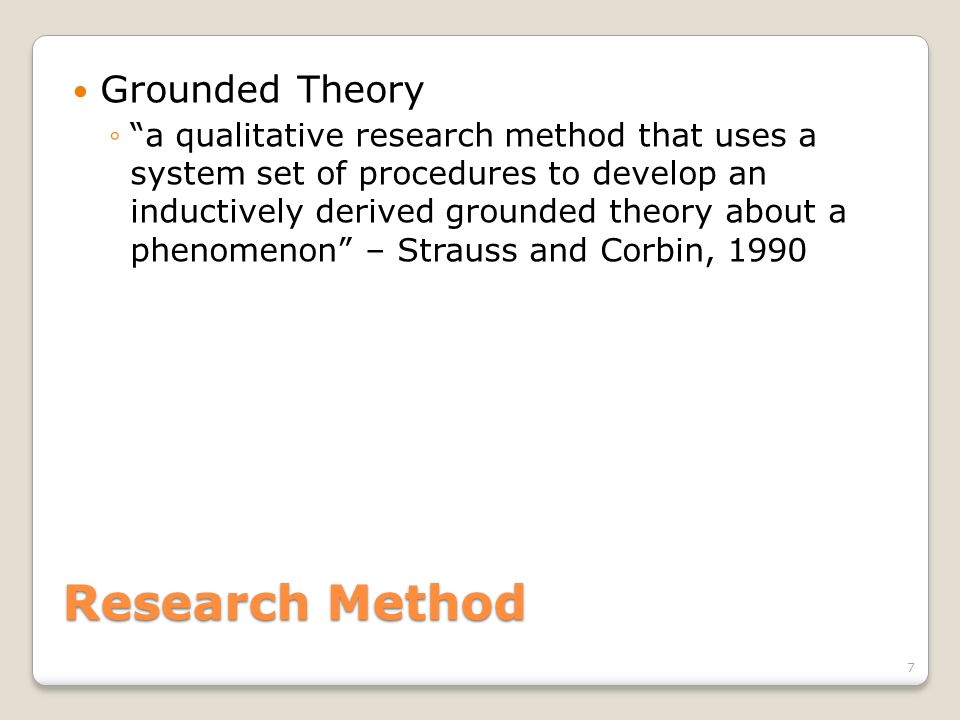 Research Method Grounded Theory