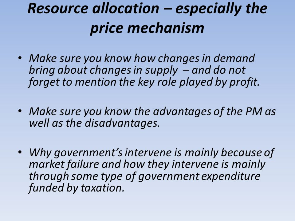Resource allocation – especially the price mechanism
