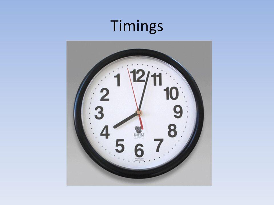 Timings 1st tip: