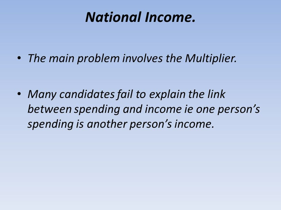 National Income. The main problem involves the Multiplier.