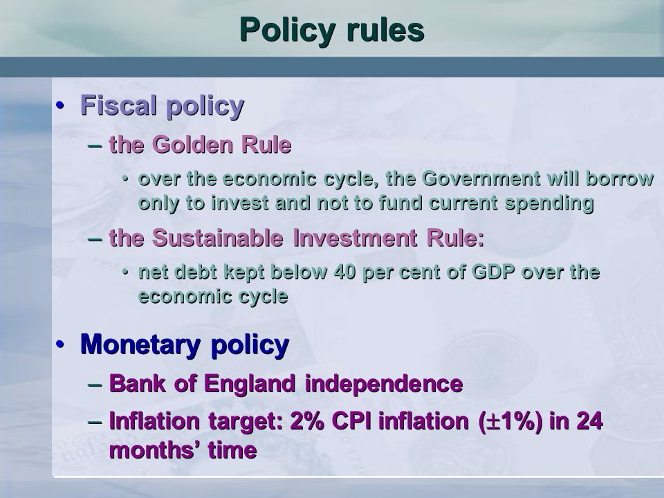 Policy rules Fiscal policy Monetary policy the Golden Rule