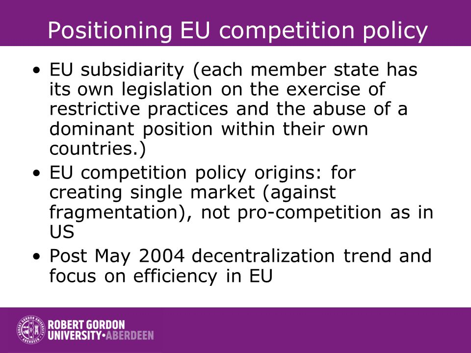 Positioning EU competition policy