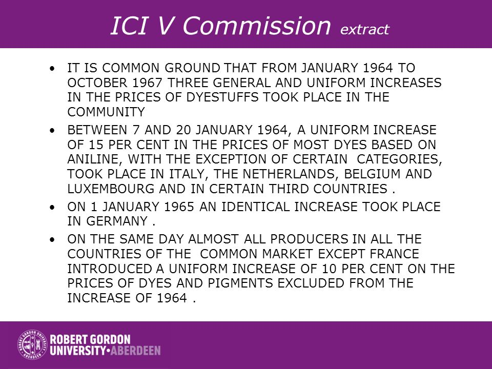 ICI V Commission extract