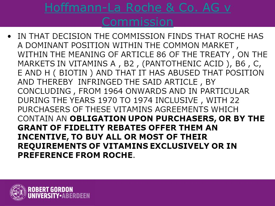 Hoffmann-La Roche & Co. AG v Commission