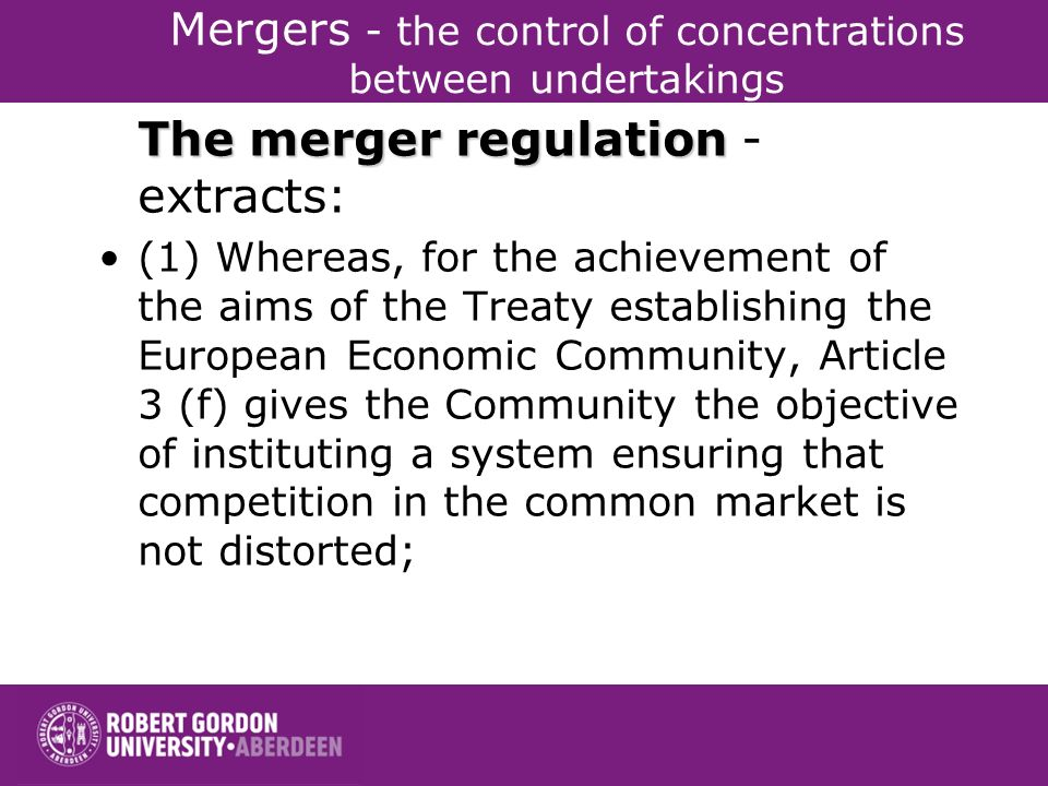 Mergers - the control of concentrations between undertakings