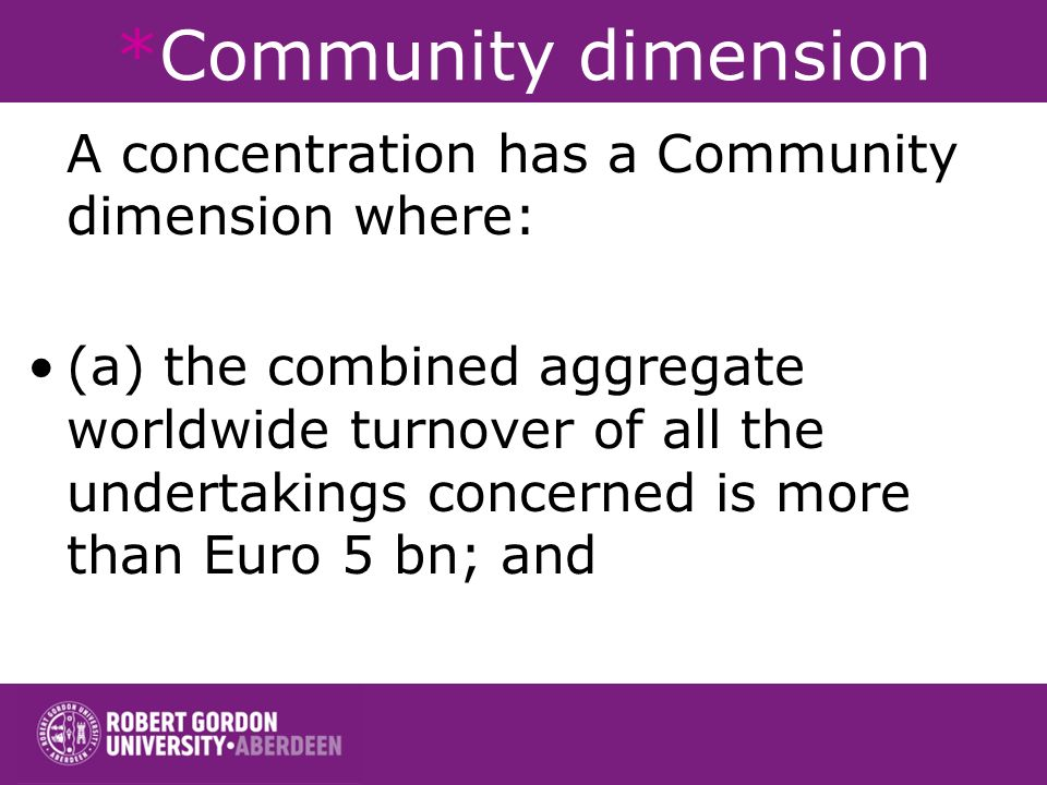 *Community dimension A concentration has a Community dimension where: