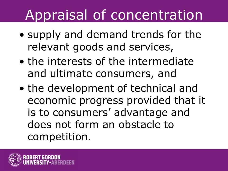 Appraisal of concentration