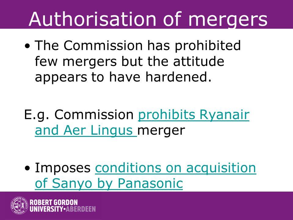 Authorisation of mergers