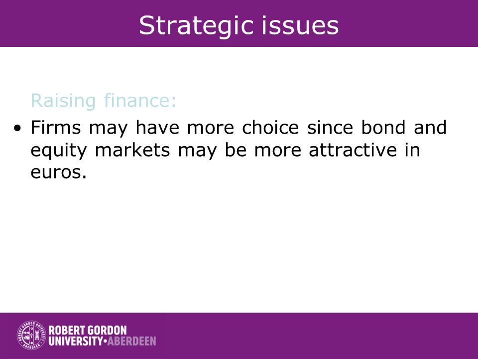 Strategic issues Raising finance: