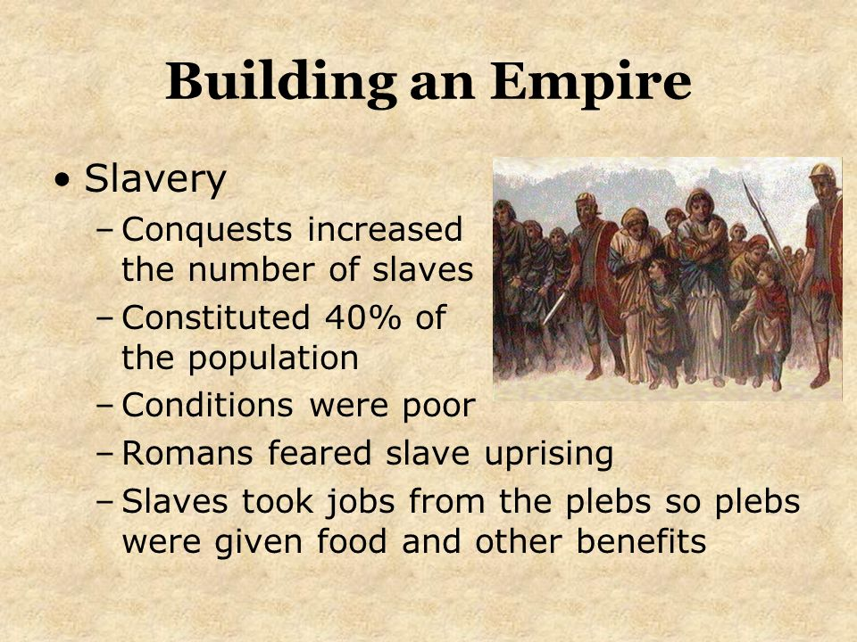 the origins and number of slaves in the roman empire Roman slaves could own property and in the later years of roman empire,  a large number of former enemy soldiers were used as slaves.