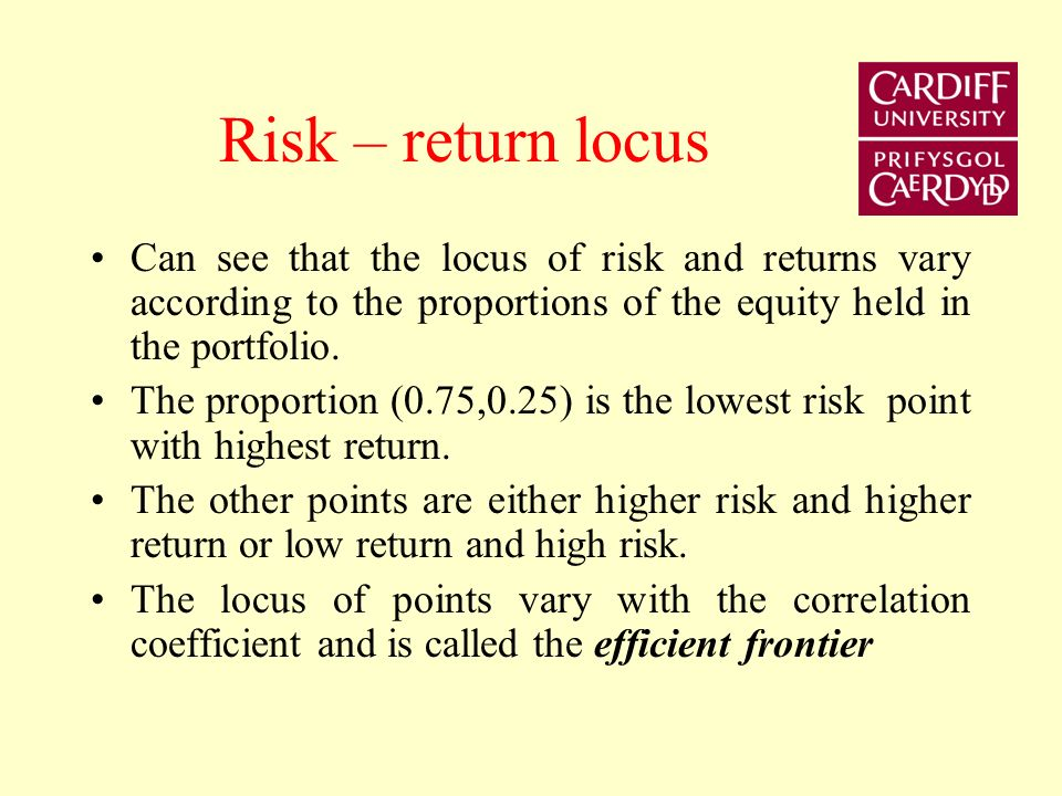 Risk – return locus Can see that the locus of risk and returns vary according to the proportions of the equity held in the portfolio.