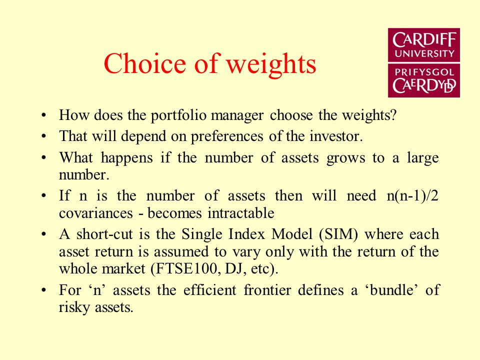 Choice of weights How does the portfolio manager choose the weights