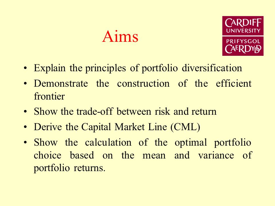 Aims Explain the principles of portfolio diversification