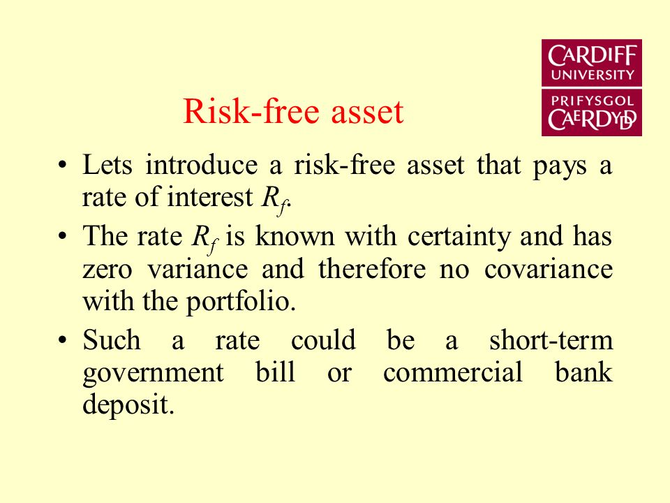 Risk-free asset Lets introduce a risk-free asset that pays a rate of interest Rf.
