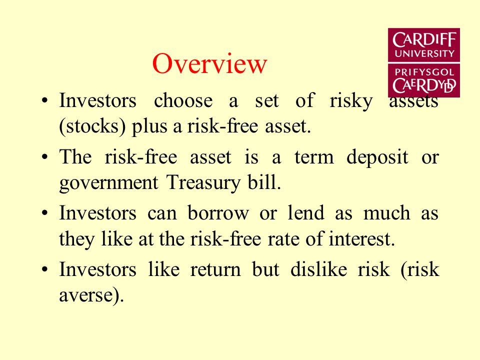 Overview Investors choose a set of risky assets (stocks) plus a risk-free asset. The risk-free asset is a term deposit or government Treasury bill.
