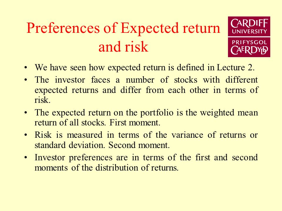 Preferences of Expected return and risk