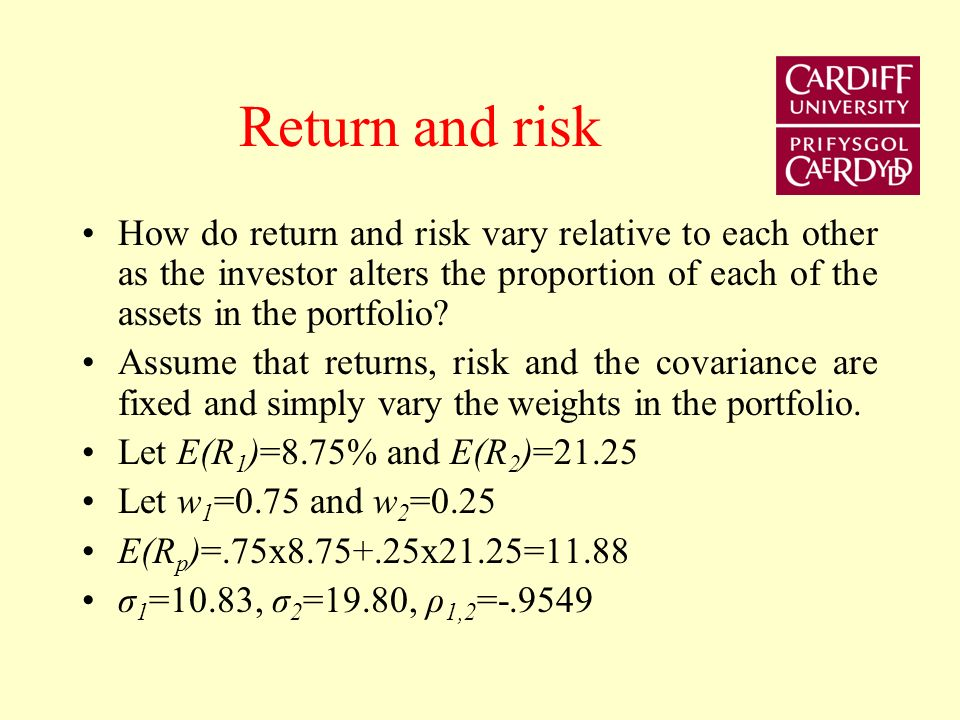 Return and risk How do return and risk vary relative to each other as the investor alters the proportion of each of the assets in the portfolio