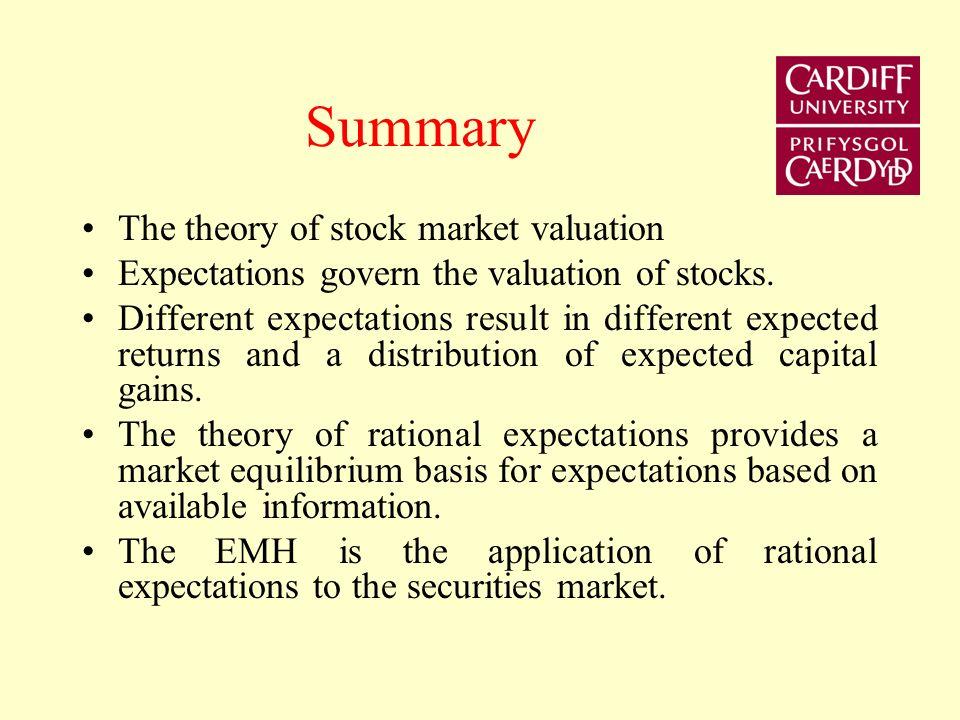 Summary The theory of stock market valuation
