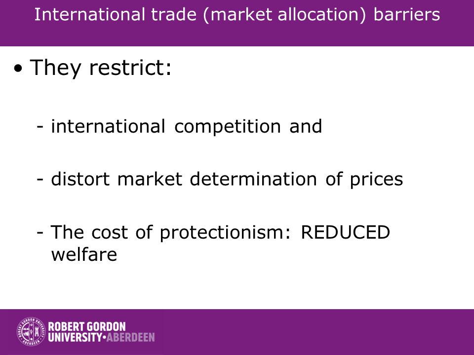 International trade (market allocation) barriers