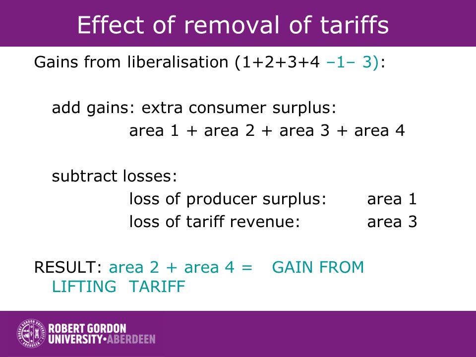 Effect of removal of tariffs