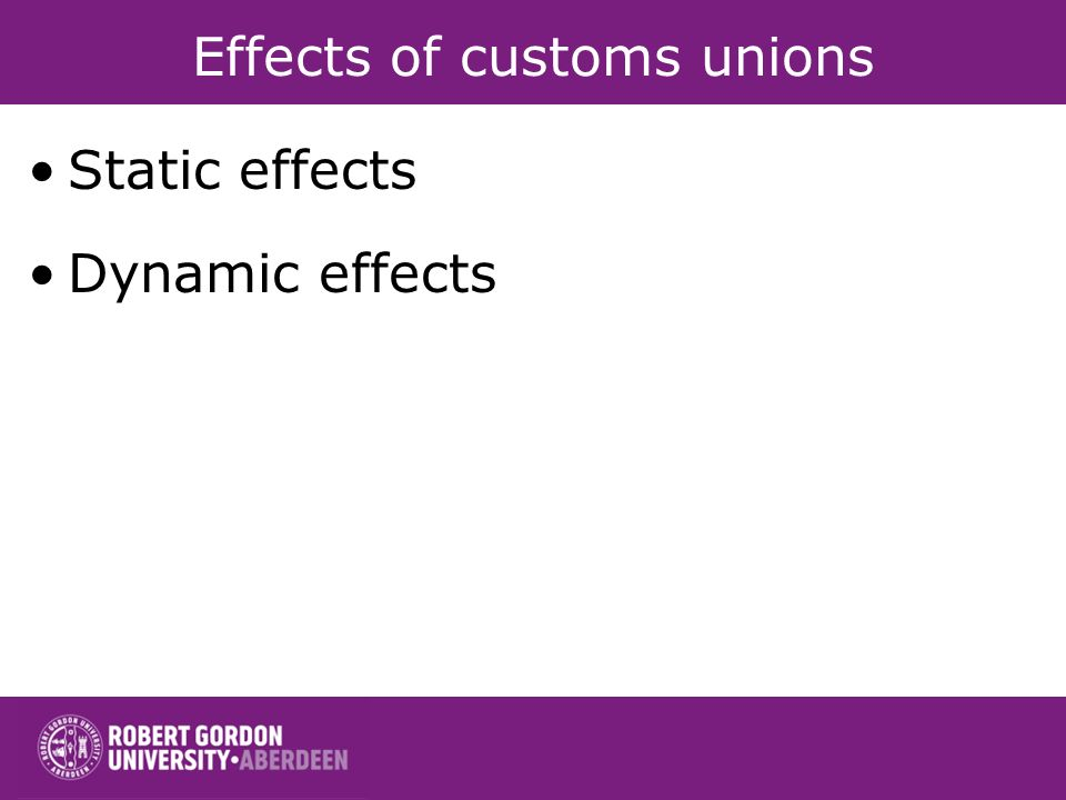 Effects of customs unions