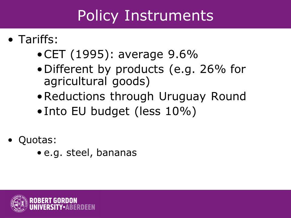Policy Instruments Tariffs: CET (1995): average 9.6%