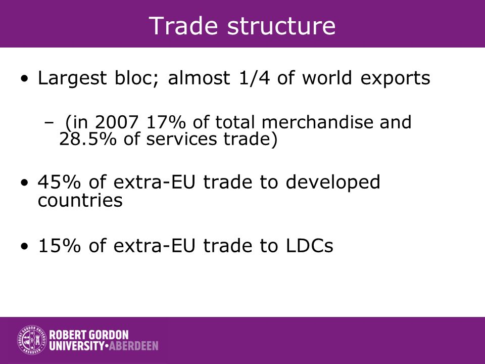 Trade structure Largest bloc; almost 1/4 of world exports