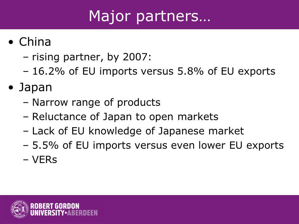Major partners… China Japan rising partner, by 2007:
