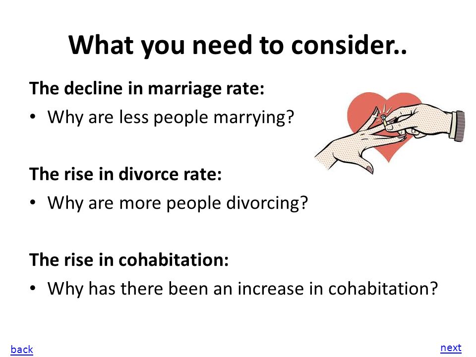 examine the reasons for change in the pattern of marriage and cohabitation in britain in the last 40 Examine some of the reasons for changes in the patterns of  many changes in  the patterns of marriage and cohabitation in the last 40 years.