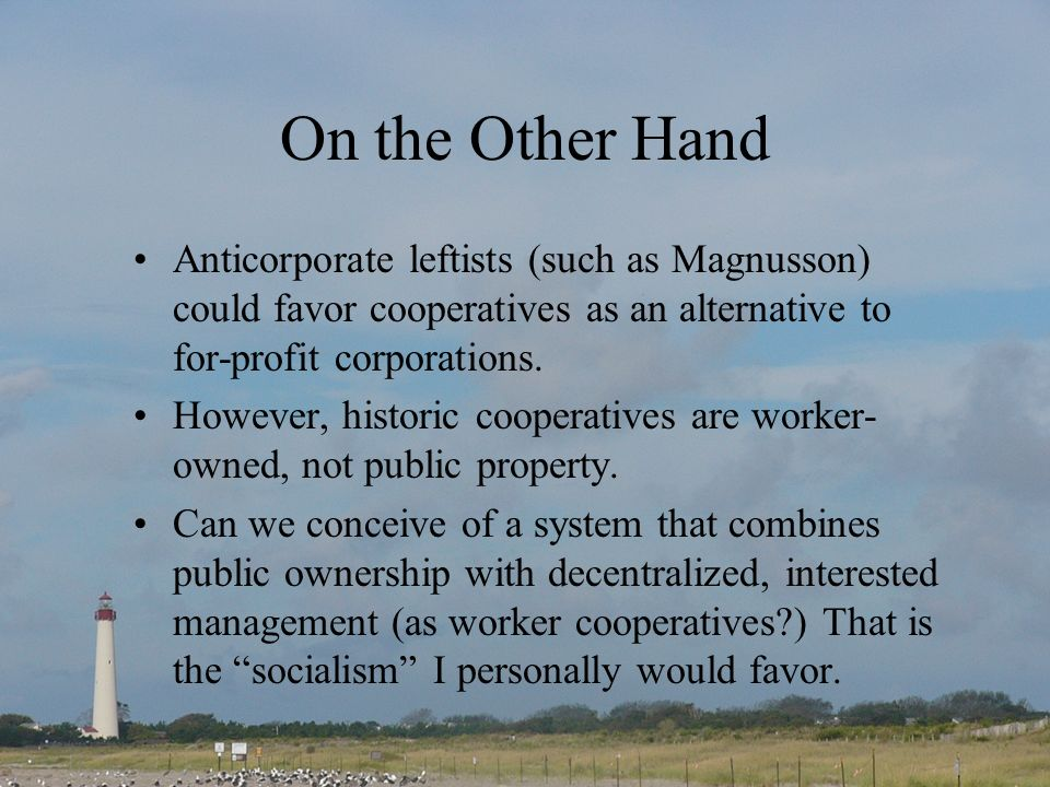 On the Other Hand Anticorporate leftists (such as Magnusson) could favor cooperatives as an alternative to for-profit corporations.