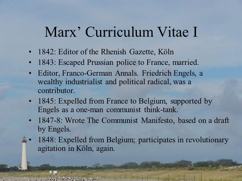 Marx' Curriculum Vitae I