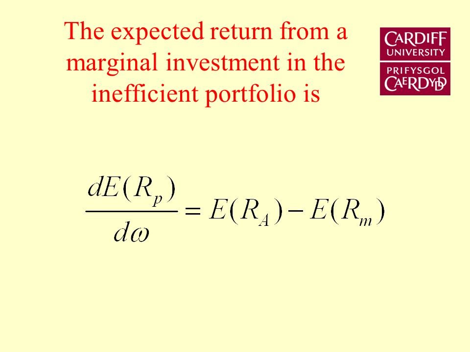 The expected return from a marginal investment in the inefficient portfolio is