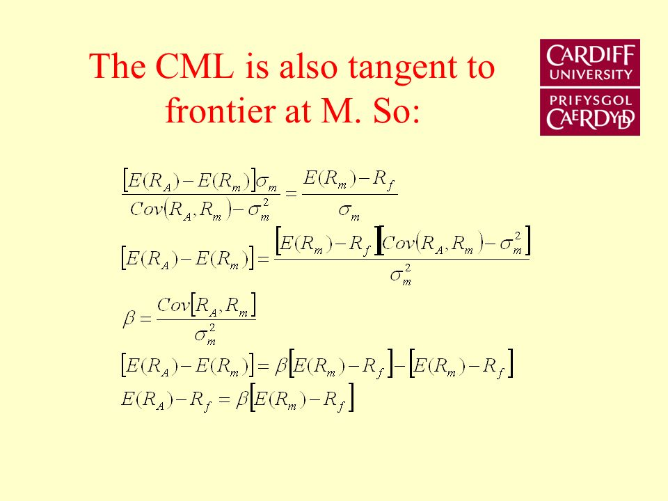 The CML is also tangent to frontier at M. So: